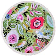 Bohemian Bird Garden Round Beach Towel