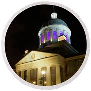 Bonsecours Market At Night In Old Montreal Round Beach Towel