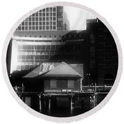 Boston Fort Point Channel Contrast Round Beach Towel