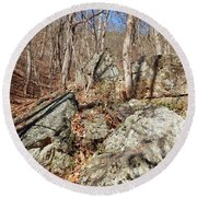 Boulders Along The Trail Round Beach Towel