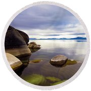 Boulders At Sand Harbor Round Beach Towel