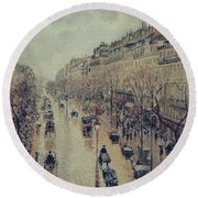 Boulevard Montmartre - Afternoon, In The Rain, 1897 Round Beach Towel