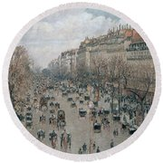 Boulevard Montmartre - Afternoon, Sunlight, 1897 Round Beach Towel