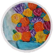 Bouquet In Blue Round Beach Towel