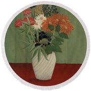 Bouquet Of Flowers With China Asters And Tokyos, 1910 Round Beach Towel