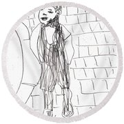 Boy On The Street Pencil Drawing Round Beach Towel