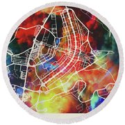 Brasilia Brazil Watercolor City Street Map Round Beach Towel
