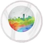 Brasilia Skyline Cityscape Brbr20 Round Beach Towel