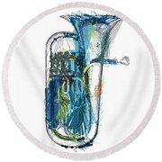 Brass Euphonium 4 Round Beach Towel