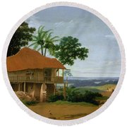 Brazilian Landscape With A Worker   S House  Round Beach Towel