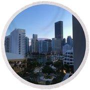 Brickell Key Miami Florida Round Beach Towel