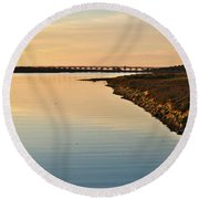 Bridge And Ria At Sunset In Quinta Do Lago Round Beach Towel