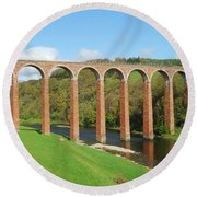 bridge over river Tweed near Melrose Round Beach Towel
