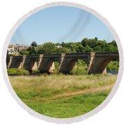 bridge over river Tyne at Corbridge in summer Round Beach Towel