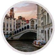 Bridges Of Venice - Rialto Round Beach Towel