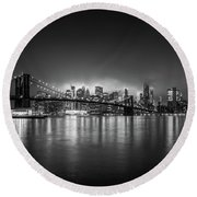 Bright Lights Of New York Round Beach Towel