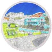 Bright Parish Life Bermuda Round Beach Towel