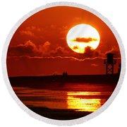 Bright Rota, Spain Sunset Round Beach Towel