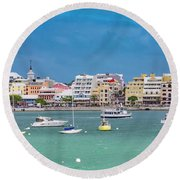 Brilliant Bermuda  Cityscape Round Beach Towel