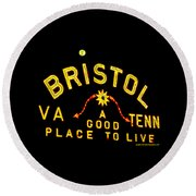 Bristol Sign And The Moon Round Beach Towel