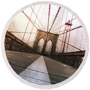 Brooklyn Bridge, New York City Round Beach Towel