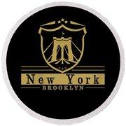 Brooklyn New York Bridge Pride Icon Round Beach Towel