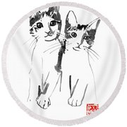Brothers Cats Round Beach Towel