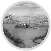 Brothers In Arms Bw Version Round Beach Towel