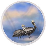 Brown Pelicans At The Shore Round Beach Towel by Kim Hojnacki