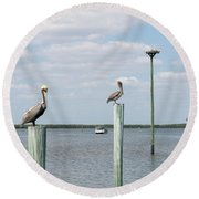 Brown Pelicans On Pilings And An Osprey Nest In The Tarpon Bay A Round Beach Towel