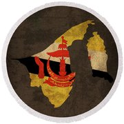 Brunei Country Flag Map Round Beach Towel