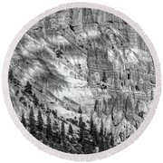 Bryce Canyon National Park Bw Round Beach Towel