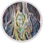 Buddha Head In Tree Roots Round Beach Towel