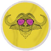 Buffalo In Pink Glasses Round Beach Towel
