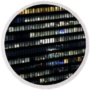 Building At Night In Tokyo Round Beach Towel