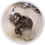 Bull Riding Round Beach Towel