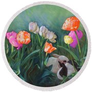 Bunnies In The Blooms Round Beach Towel