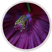 Burgundy Hibiscus Round Beach Towel