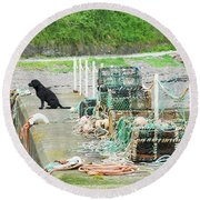 Burnmouth Harbour With Dog On Pier And Lobster Pots Round Beach Towel