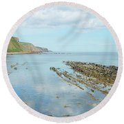 Burnmouth Shore, Cliffs And North Sea Round Beach Towel