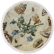 Butterflies, Clams, Insects Round Beach Towel