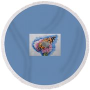 Butterfly At Lunch Round Beach Towel