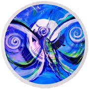 Butterfly Blue Violet Round Beach Towel