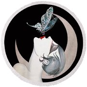 Butterfly Kiss French Art Deco Flapper Woman Round Beach Towel