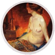By The Fireside 1910 Round Beach Towel