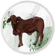 C Is For Cow Round Beach Towel