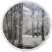 Cabin In The Smoky's II Round Beach Towel