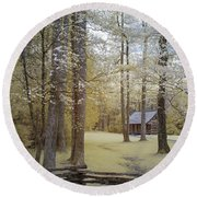 Cabin In The Smoky's Round Beach Towel