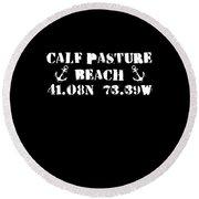 Calf Pasture Beach Norwalk Round Beach Towel