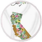 California Round Beach Towel